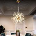 Suspension à LED en métal cristal à 8 lampes D42cm design pissenlit pour salons chambre