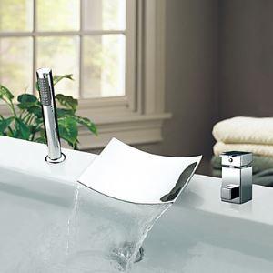 Robinet de baignoire cascade avec douchette chromée 2 Poignées contemporaine
