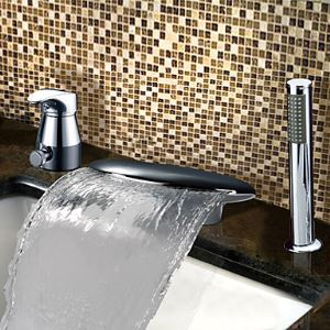 Robinet de baignoire avec douchette chromée cascade pour salle de bain contemporain 2 Poignées