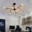 Lustre moderne en bois fer pour salon chambre cuisine, 6/8 lampes