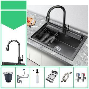 Évier noir simple moderne en acier inox brossé pour cuisine, robinet optionnel