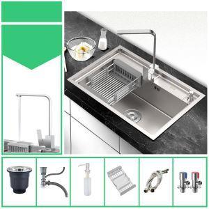 Évier de cuisine argent moderne à bac simple en acier inox brossé, robinet optionnel