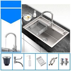 Évier argent moderne à bac simple en acier inox brossé pour cuisine, robinet optionnel