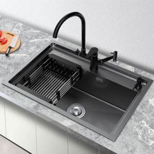 Évier de cuisine noir moderne évier simple en acier inox brossé, robinet optionnel