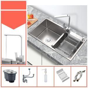 Évier argent épais en acier inox moderne à double sac pour cuisine, robinet optionnel