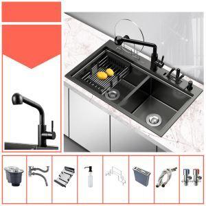 Évier de cuisine noir moderne à double bac en acier inox brossé, robinet optionnel