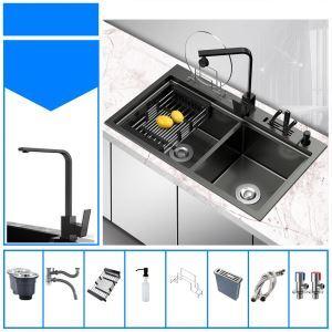 Évier noir moderne à double bac en acier inox pour cuisine, robinet optionnel