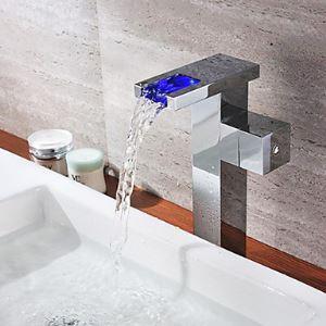 (Entrepôt UE) Robinet de salle de bain lavabo chromé finition Mitigeur couleur changeant cascade LED