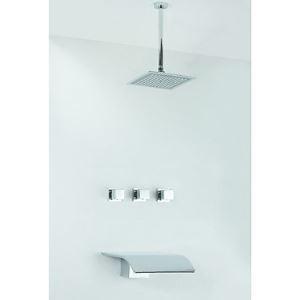 Colonne de douche encastrée chromé avec pommeau de douche L 26 cm pour salle de bains