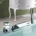 Robinet de baignoire cascade avec douchette chromé 2 poignées pour salle de bains