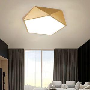Plafonnier géométrique doré à LED pour salon chambre couloir, S/M