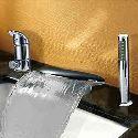 Robinet de baignoire avec douchette chrome cascade poignée simple