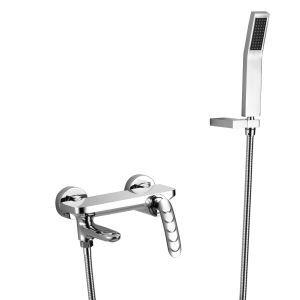 Robinet de baignoire avec robinetterie douchette en cuivre pour salle de bains, 3 modèles