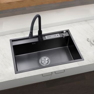 Évier de cuisine moderne bac simple en acier inoxydable noir nano, robinet optionnel