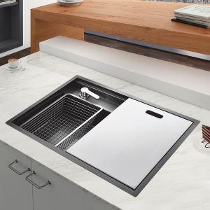 Évier de cuisine encastré en acier inoxydable 304 noir nano, bac simple