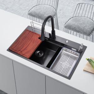 Évier de cuisine noir avec drain distributeur de savon panier de vidange et planche à découper