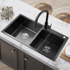 Évier de cuisine noir nano double bac en acier inoxydable 304 sans/avec robinet