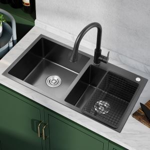 Évier de cuisine noir double bac en acier inoxydable sans/avec robinet