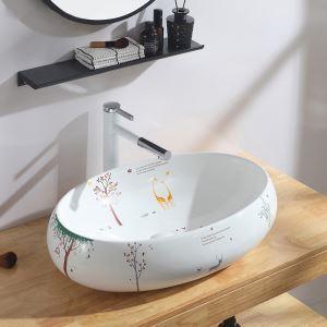 Vasque à poser en céramique blanc cartoon imprimé pour salle de bains, sans/avec robinet