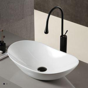 Lavabo à poser blanc en céramique moderne simple pour salle de bains toilettes