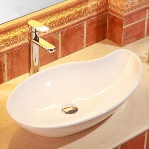 Lavabo blanc moderne en céramique bassin à poser pour salle de bains