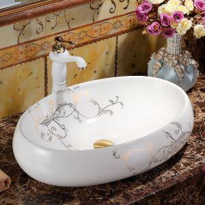 Vasque à poser moderne en céramique blanc pour salle de bains