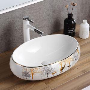 Lavabo à poser ovale en céramique pour salle de bains, robinet optionnel