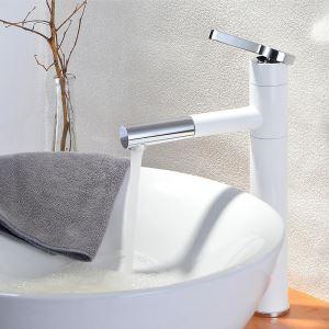 Robinet à tirette poignée simple blanc chrome/blanc or pour salle de bains