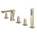 Mitigeur de baignoire classique à 3 poignées pour salle de bains, Or brossé/Gris/Noir/Chrome