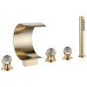Mitigeur de baignoire or cascade à 3 poignées en cristal pour salle de bains