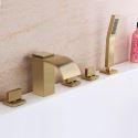 Mitigeur de baignoire cascade en cuivre or brossé à 3 poignées pour salle de bains