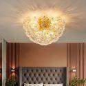 Plafonnier moderne en fer forgé demi-cercle fleur en verre pour salon chambre à coucher
