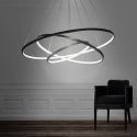 LED suspension en aluminium noir/or 3 anneaux 80+60+40cm Lampe pour salle salon