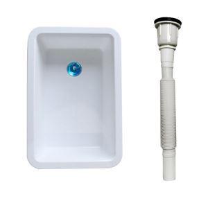 Évier en plastique blanc avec tuyau de drainage pour cuisine