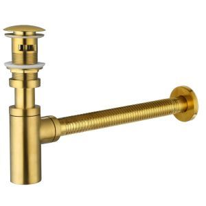 Tuyau d'égout anti-odeur tout cuivre or avec drainage rebond accessoire pour évier vasque
