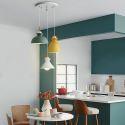 Suspension nordique en fer lumière à 3 lampes pour cuisine bar café