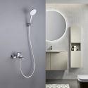 Robinet de baignoire mural à deux fonctions pour salle de bains, Noir/Chrome/Gris/Or brossé