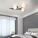 Plafonnier moderne en fer verre à 3/5/7 lampes pour salon chambre à coucher, noir/or