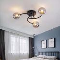 Plafonnier Noir/Or à LED en métal verre pour salon chambre à coucher, 3/5 lampes