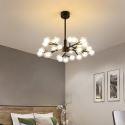 Lustre moderne à LED en métal verre Noir/Or pour salon chambre salle à manger
