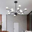 Lustre LED en métal verre Noir/Or à 9/12/15 lampes pour salon chambre à coucher hall