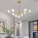 Lustre LED en métal verre à 9/12/15/18 lampes pour salon restaurant café