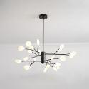 Lustre LED en fer acrylique à 24 lampes G4 72W pour salon restaurant boutique, Noir/Or