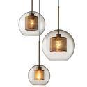 Suspension en métal abat-jour en verre à 3 lampes pour salon salle à manger