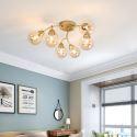 Plafonnier or LED en métal verre style moderne délicat pour salon chambre à coucher, 6/12 lampes