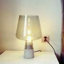 Lampe de table en ciment abat-jour en verre pour chambre à coucher 2 dimensions