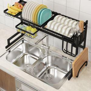 Support d'évier en acier inox noir étagère de rangement pour ustensiles de cuisine, 2 tailles