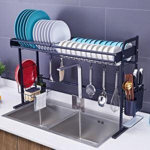 Support de rangement en acier inox noir étagère pour ustensiles de cuisine