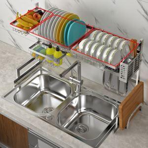 Support d'évier en acier inox 304 argent étagère de rangement pour ustensiles de cuisine