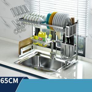 Support de rangement en acier inox 304 argent pour ustensiles de cuisine